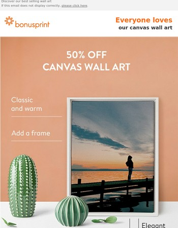50% off canvas wall art - update your walls now
