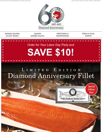 $10 Off Smoked Wild Salmon for Labor Day