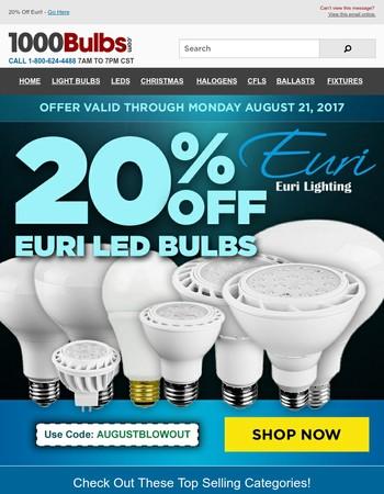 20% Off Euri LED Bulbs!