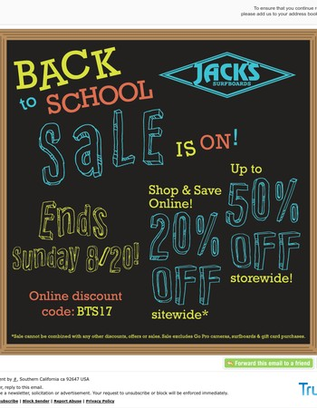 Back To School Sale Ends Sunday! Up To 50% Off Storewide