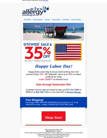 Early Labor Day Saving$ at AchooAllergy.com! 15% up to 35% savings!