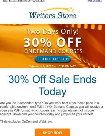Writers Store Newsletter