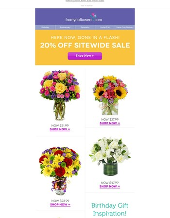 Flower FLASH SALE! 20% Off Your Favorite Blooms