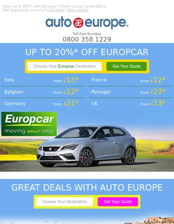 Great opportunity! Up to 20% off Europcar