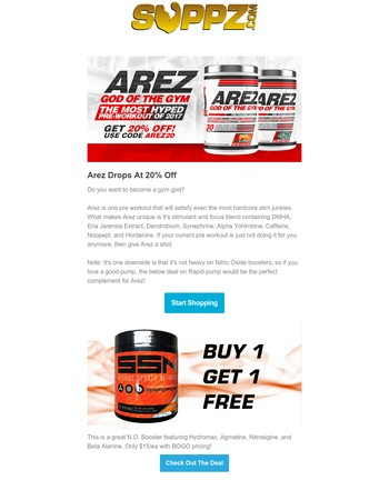 BOGO Deal on NutraBio Creatine HCl + God Of They Gym Pre Workout