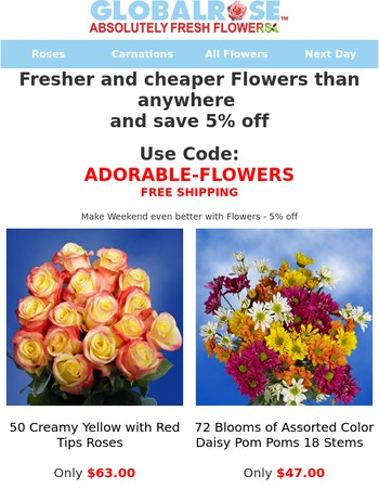 Make Weekend even better with Flowers - 5% off