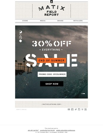 Bye Summer: End of summer sale - 30% off everything!