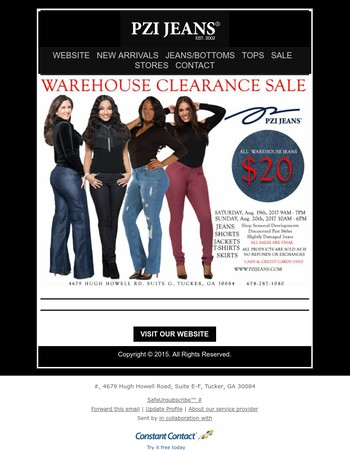 This Weekend - In store Only - Warehouse Clearance Sale - All Warehouse Jeans $20