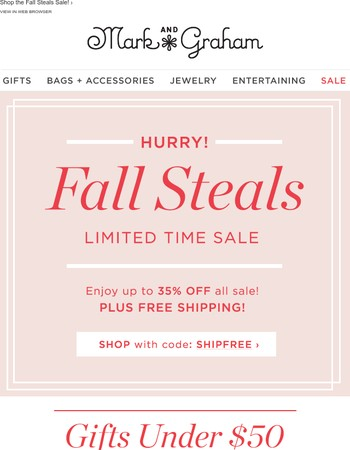 Our Most❤dItems Now Reduced! Shop Fall Steals under $50!