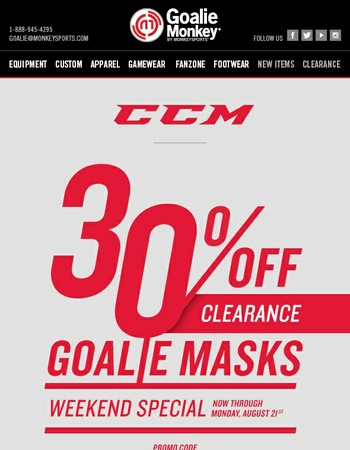 30% Off Clearance CCM Goalie Masks - This Weekend Only!