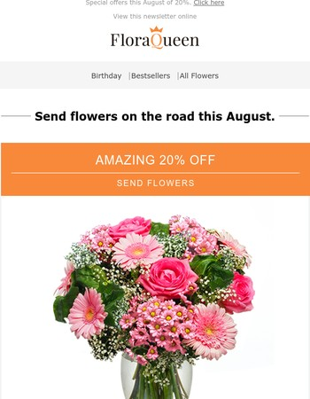 Send flowers while you jet off!
