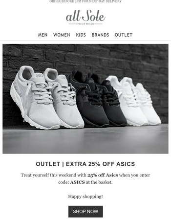 Enjoy an extra 25% off the Asics OUTLET