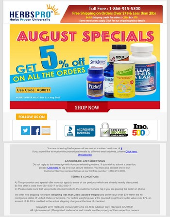 Aug Specials  - Additional 5% off on all the orders