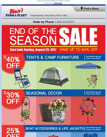 Save Up to 60% Off During Our End of the Season Sale