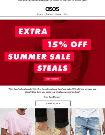 Extra 15% off the summer sale edit