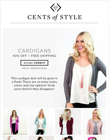 Cardigans in Sizes S - 3X, Starting Under $12.  Hurry!