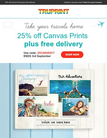 25% off Canvas Prints plus free delivery