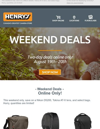 Henry's Weekend Deals are here!