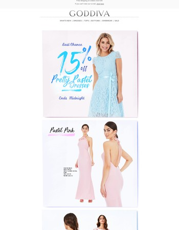 Last Chance! | 15% OFF Perfect Pastel Dresses, Ends Midnight