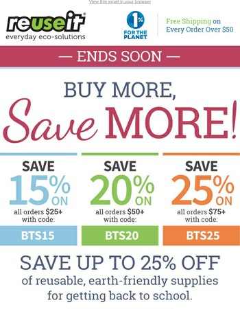 Ends Soon! Buy More, Save More (Up to 25%) for Back to School