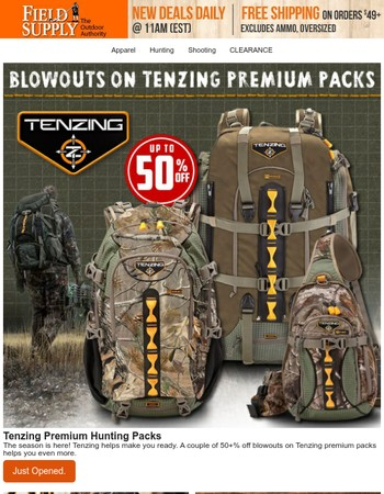 Tenzing packs at stunning 50+% off savings, while they last.