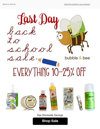 Last Day -- Back to School Sale