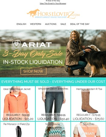 In-Stock Ariat Liquidation! Everything Must Be Sold