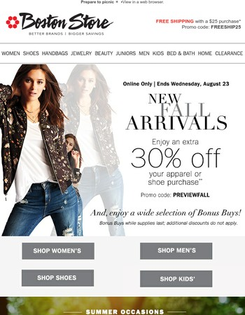 Online Exclusive: Fall Preview • Enjoy an Extra 30% off!