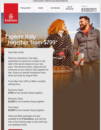 Two fly to Milan from $799*