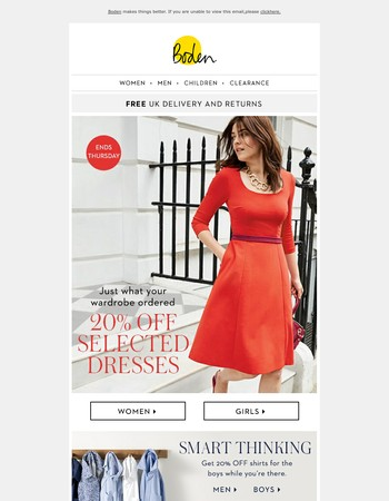 20% OFF selected dresses, because Monday