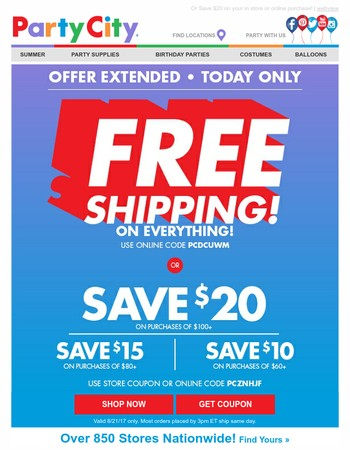 FREE Shipping Extended! One Day Only!
