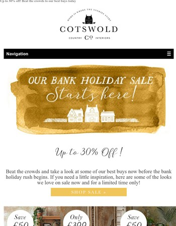 Our Bank Holiday Sale is here