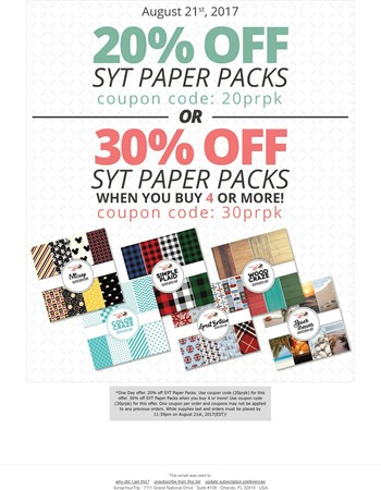 Monday Madness - Up to 30% off* SYT Paper Packs!