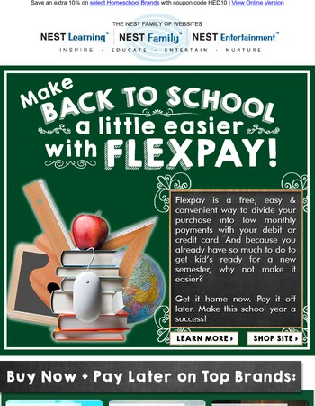 Buy Now, Pay Later - Use FLEXPAY for an A+ Semester!