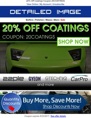 Hurry! Coatings Are 20% Off!