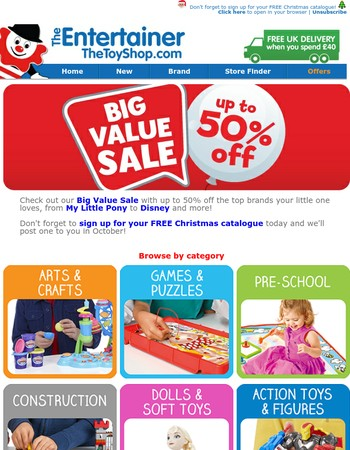 Up to 50% off action figures, dolls, games, pre-school & more!