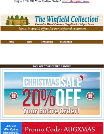 Last Day to Save Christmas in August Sale!