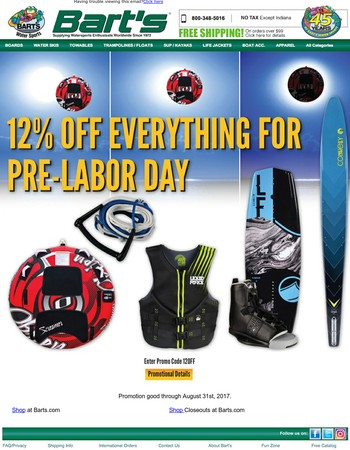 12% Off Everything For Pre-Labor Day Sale