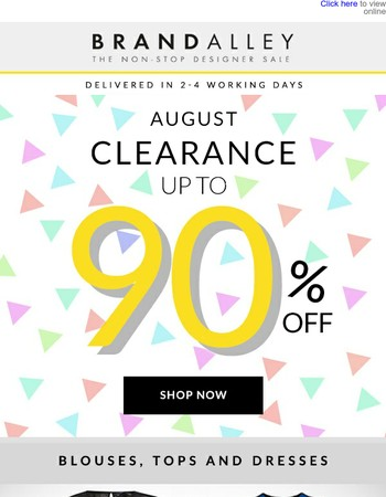 CLEARANCE = the best thing about the end of the season, be quick for up to 90% off today