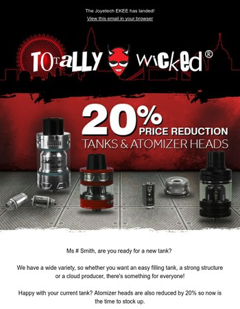 Tanks, Atomizers and DIY E-liquid all reduced!