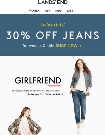 Ready, set... 30% off jeans TODAY!