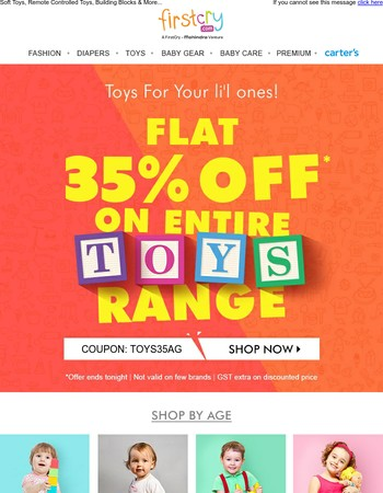 Toys for your li'l ones ✈ Flat 35% OFF