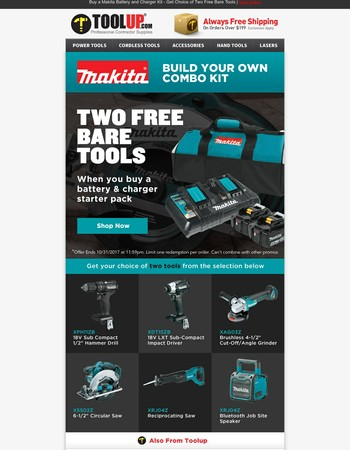 Two Free Makita Bare Tools with Starter Kit Purchase