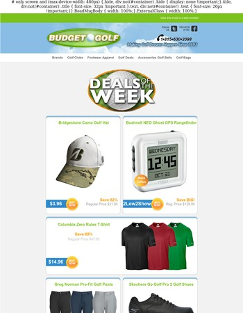 BudgetGolf.com ⛳ Deals of the Week ⛳ Our Deals Dont Stop! August 22 2017