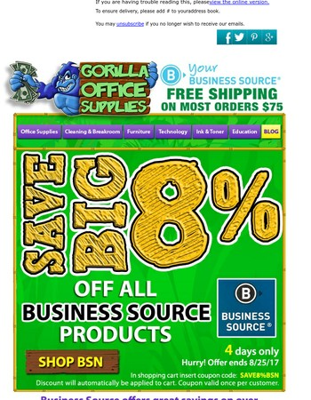 4 Days Only - 8% off ALL BSN - from Gorilla!