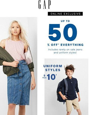 ❇ We're emailing you about up to 50% off EVERYTHING (including denim!)