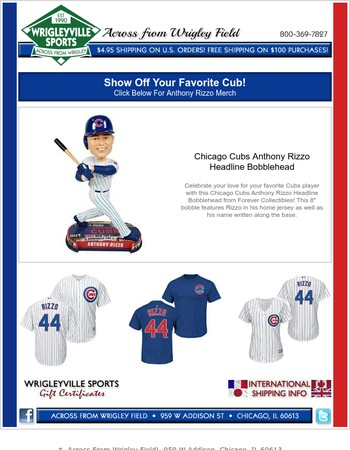 Anthony Rizzo Has Been Red Hot! - Get Your Rizzo Merch Now