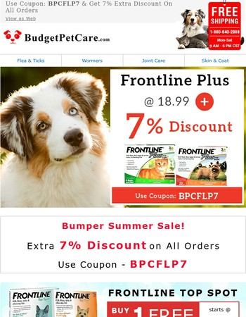 Mary, Frontline Plus @18.99 + 7% Extra Discount & Free Shipping