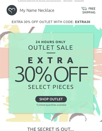 OUTLET: 30% extra off select jewelry