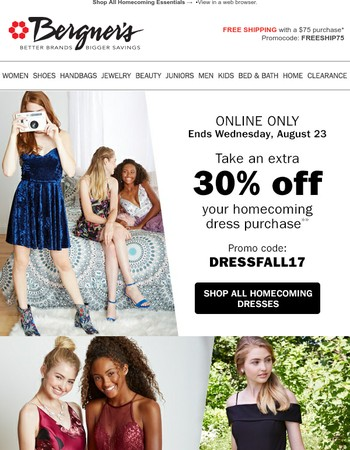 ONLINE ONLY | Extra 30% off Homecoming Dresses